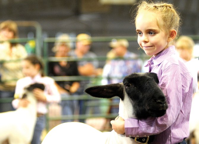 Sherese Ebaugh, 8, hangs on to Buster the lamb during Thursday's lamb showmanship competition at the Routt County Fair in Hayden.