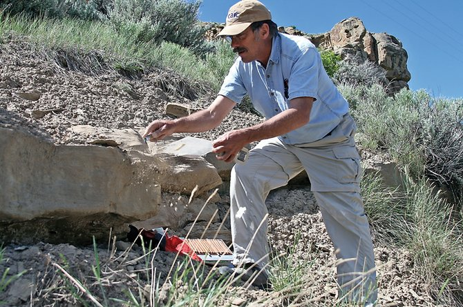 Peter Barkmann, a field geologist with the Colorado Geological Survey, prepares to take a strike and dip reading on a sandstone bed June 16 northeast of Hamilton. Barkmann was one of nine geologists who helped take surface readings of the area surrounding Craig  to determine if the area would be suitable for carbon sequestration.