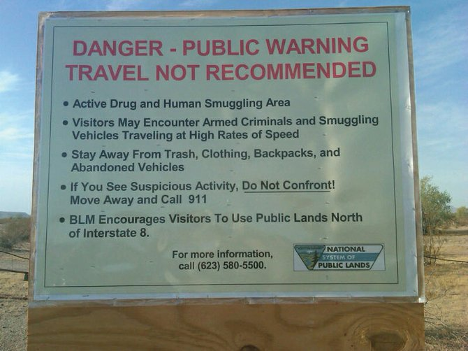 Randy Baumgardner said signs such as this are posted throughout the central and southern parts of Arizona.