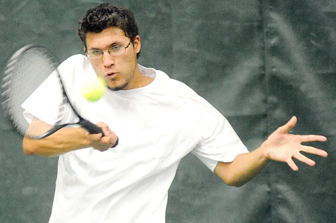 Mirko Erspamer plays Friday as the Steamboat Springs High School tennis team struggled against Boulder, losing six of the day's seven matches. The squad returns to action today against Kent Denver at noon today.