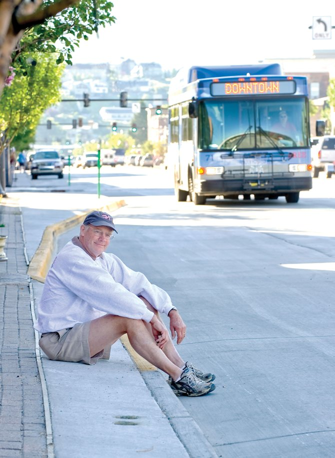 Steamboat Smokehouse owner Fritz Aurin is upset about the new bus lanes that block parking along Lincoln Avenue in front of his business in downtown Steamboat Springs. Aurin doesn't understand why the lanes can't be located a block further down the street where their impact on business would be reduced.