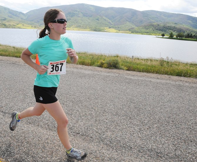 Nicole Miller runs during Sundays Steamboat Triathlon.