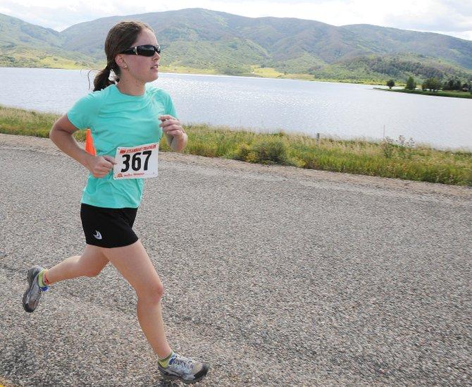 Nicole Miller runs during Sunday's Steamboat Triathlon.