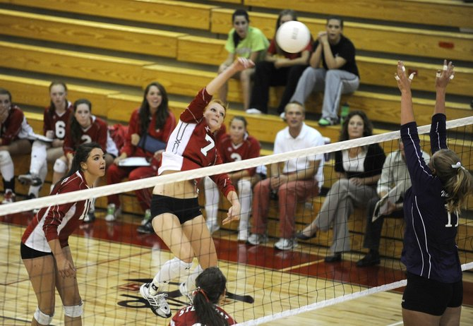 Steamboat Springs High School senior Kaitie Breisch delivers a spike during Thursday's match against Middle Park at Steamboat.