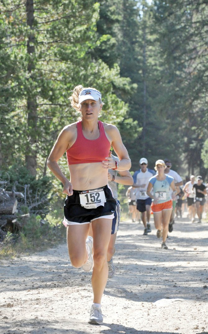 Louisville resident Teri Cady leads a pack of runners Sunday at the start of the Steamboat Springs 10K at 10,000 Feet running race atop Rabbit Ears Pass. Cady (54:38) finished second in the women's division.