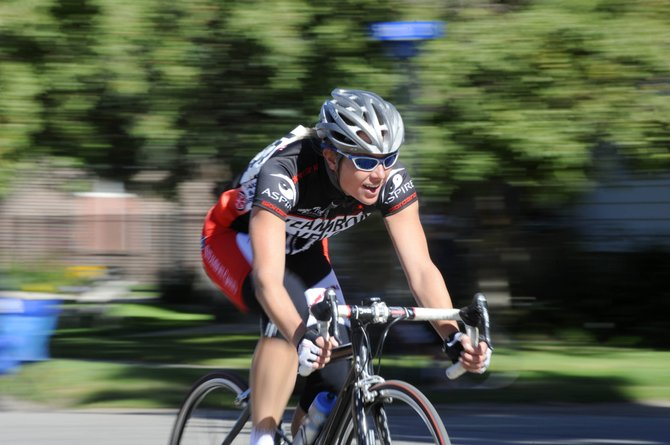 Steamboat Springs cyclist Amy Charity races Monday during the Steamboat Ski and Bike Kare Criterium in Old Town Steamboat Springs.
