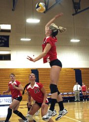 Spartan Casara LaGree jumps for a spike during Colorado Northwestern Community College's volleyball game Tuesday at Moffat County High School.