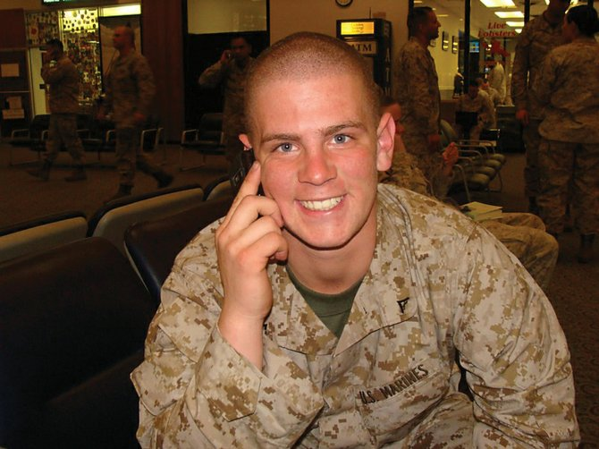 Steamboat Springs resident Joseph Nerney, a lance corporal in the Marines, talks on the phone at a military base in Bangor, Maine, shortly before being deployed to Afghanistan in February. Nerney is expected to return to the U.S. any day.