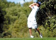 MCHS freshman Taft Cleverly tees off on the 16th hole Thursday at Yampa Valley Golf Course. Cleverly shot a 107 at the Bulldogs only home tournament of the season. MCHS finished 12th out of 16 teams.