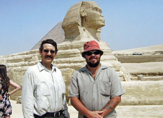 Craig residents Lee Norris, left, and Tony Pogline stand in front of the Great Sphinx of Giza during a mid-August vacation to Egypt. The pair saved money for four years to take the trip. Pogline described the experience as a dream come true.