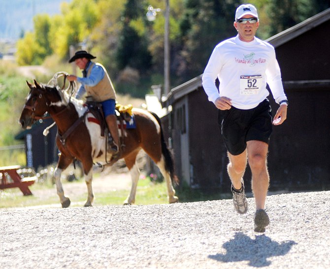 Andy Wiener flies toward the finish line of Steamboat Springs Running Series' Emerald Mountain Trail Run on Saturday.