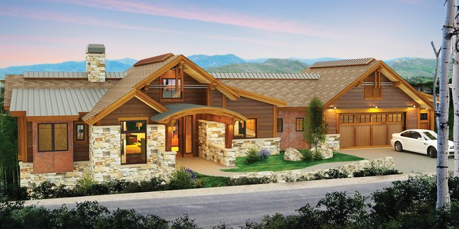 A rendering of the spec home just under way in the new Boulder Ridge subdivision reflects durable materials including corroded steel cladding surrounding the windows.
