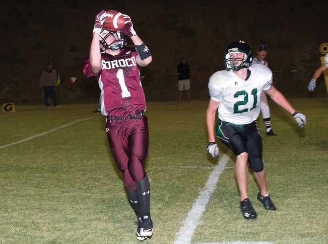 Soroco's Pie Lombardi pulls in a pass from Nic Paxton near the end zone. Lombardi's catch set up a touchdown by Paxton a few plays later helping the Rams collect a 27-6 victory against Plateau Valley.