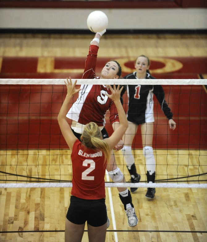 Steamboat Springs High School junior Meghan Rabbitt spikes the ball during Thursday night's game against Glenwood Springs. Glenwood won, 17-25, 11-25, 26-24, 25-23, 15-10.