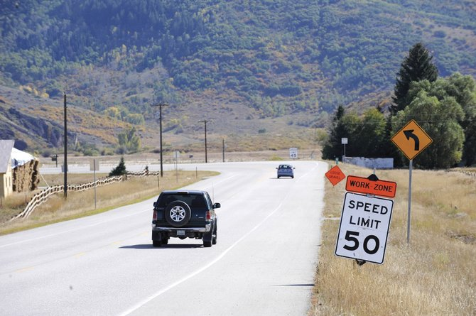 Vehicles enter a construction zone on Colorado Highway 131 near Steamboat Springs on Sept. 17. A section of the road was recently chip-and-sealed.