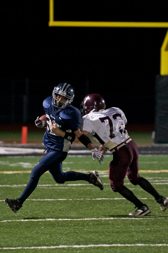 Vail Christian's Nigel Johnsen returns a kickoff against Soroco's Joey Anderson on Friday night at Eagle Valley Stadium. Soroco won, 41-7.