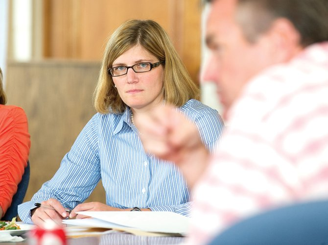 District Attorney Elizabeth Oldham discusses her office's budget during a meeting Monday afternoon with commissioners from Routt, Moffat and Grand counties.