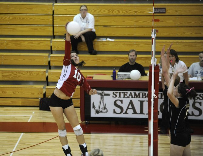Steamboat Springs High School junior Maggie Stanford spikes the ball during Saturdays match against Battle Mountain. Steamboat won, 3-1.