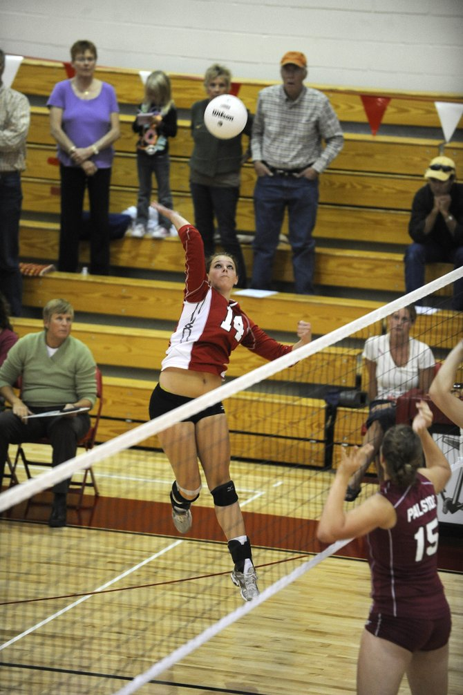 Steamboat Springs High School junior Addie Sulentich goes up for a spike during Tuesday night's match against Palisade. The Sailors lost in 4 sets.