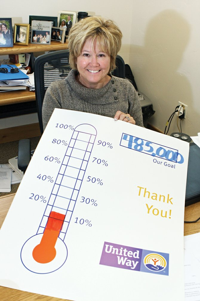 "Corrie Ponikvar, executive director of Moffat County United Way, shows the organization's fundraising ""thermometer"" Wednesday in her office. So far, the organization has reached about 15 percent of its $485,000 goal for the 2011 campaign, which continues through Nov. 19."