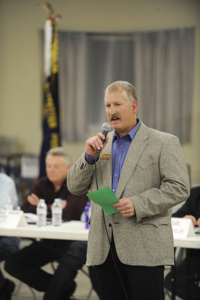 Garrett Wiggins, a candidate for Routt County sheriff, speaks during the candidates forum Wednesday night in Hayden.