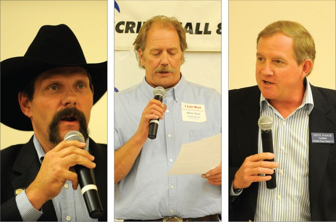 House District 57 candidates, from left, Randy Baumgardner, Republican;  Mike Kien, Libertarian; and Steve Ivancie, Democrat, speak during Thursday night's forum at the Steamboat Springs Community Center.
