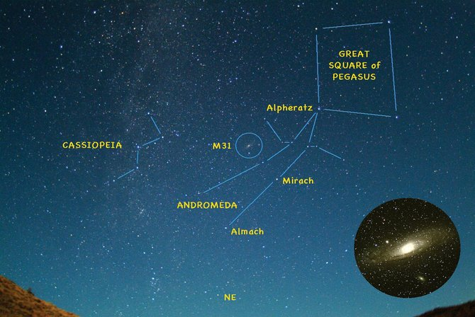 Andromeda is the beautiful daughter of Queen Cassiopeia and King Cepheus, a celestial royal family that figured heavily in Greek mythology. One corner of the Great Square of Pegasus marks the princess' head, a star named Alpheratz.