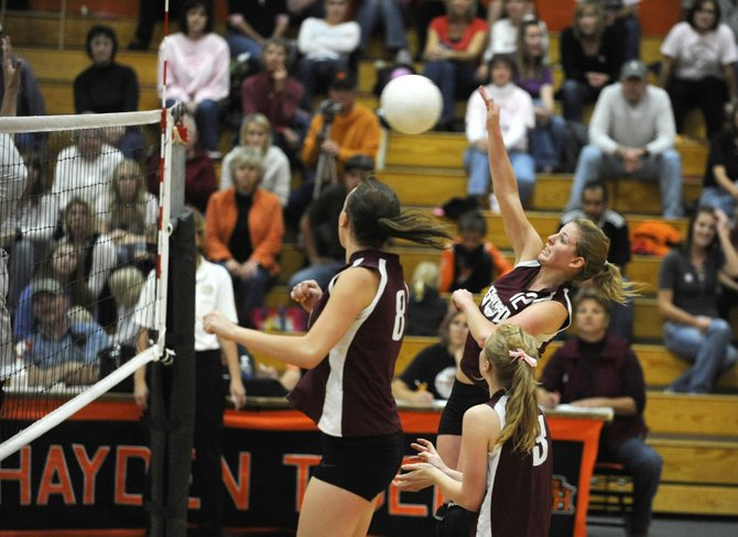 Soroco High School junior Shelby Miles hits the ball during Saturday's match against Hayden in Hayden. Soroco won 3-1.