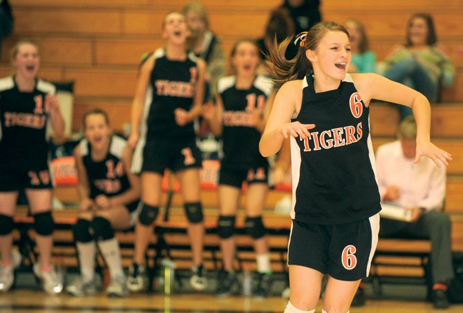 Olivia Zehner celebrates the Hayden Tigers 3-1 victory against Vail Mountain School on Tuesday night in Hayden. Thanks to the win, 25-21, 23-25, 25-20 and 25-16, Hayden will advance to the next round of the district tournament this weekend in Rangely.