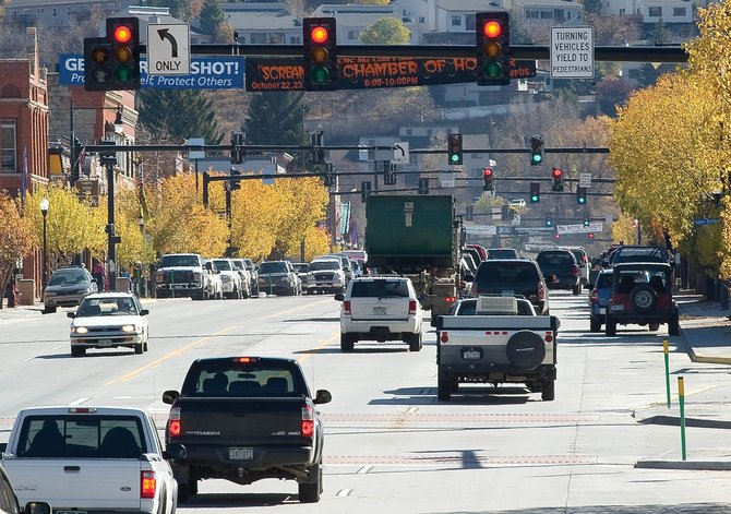 Traffic lights in Steamboat Springs control the flow of cars Thursday afternoon.
