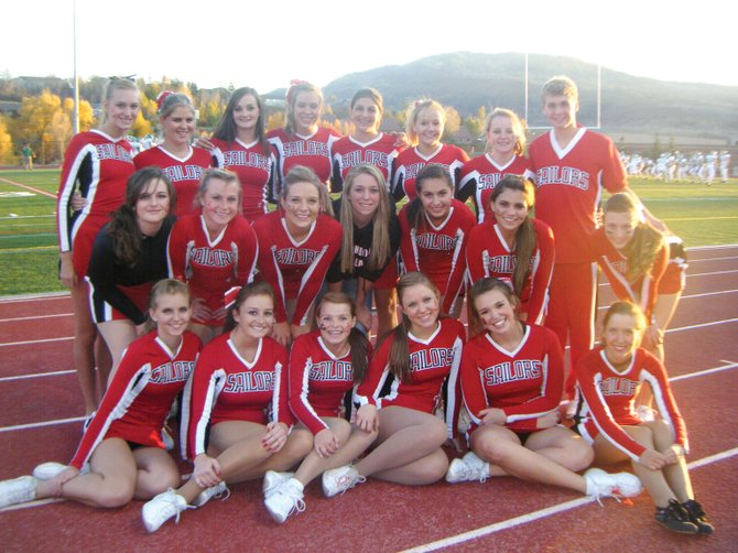 The members of the Steamboat Springs High School cheerleading team include (top row, from left) Kassidy Fischer, Kendall Yeager, Kaitlin McBride, Kate Rusk, Carly Hanley, Brittani Beckwith, Linnea Franke, Owen McIntosh; (middle row, from left) Ali Lotstein, Sydney Finkbohner, Erin Duran, Hadlie Quick, Miranda Salky, Brandi Salazar, Hanna Pagliaro; (and bottom row, from left) Ainslee Yeager, Emma Lichtenfels, Nikki Vande Velde, Catherine Fischer, Liesl Lord, Berenice Rioux.
