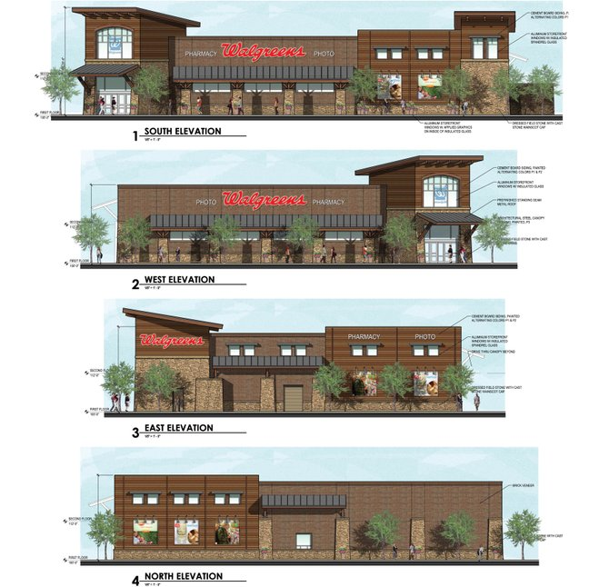 The proposed Walgreens building exceeds typical corporate design with exposed timbers and fieldstone. This is the second time Walgreens has tried to gain city approval and enter the Steamboat Springs market. The 7,500-store chain previously went deep into the development permit process in April 2005 and December/January 2005-06.
