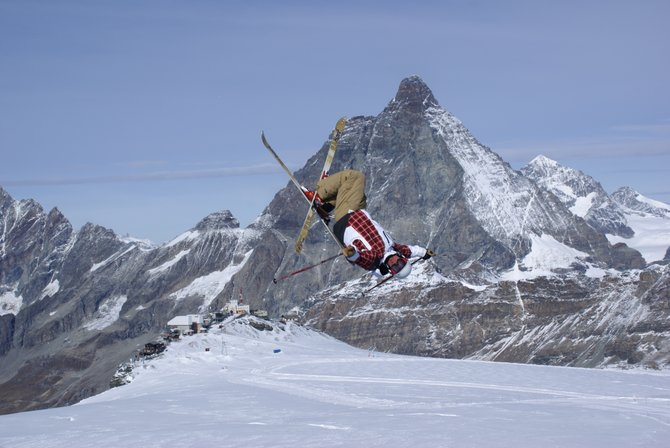 Ryan Dyer throws a trick during a camp in Zermatt, Switzerland, with The Matterhorn as a backdrop. Dyer was one of several Steamboat Springs Winter Sports Club freestyle athletes to trek the globe for camps. Camps also included stops in Whistler, British Columbia, and Australia. The season begins for the team Dec. 16 to 22 with Selections in Steamboat.
