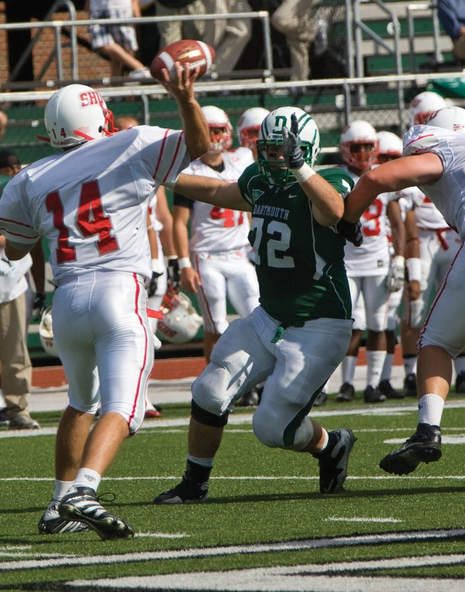 Lane Shipley rushes the quarterback against Sacred Heart earlier this year. Shipley, a 2007 Steamboat Springs High School graduate and senior defensive tackle at Dartmouth, was named to the ESPN Academic All-District I University Division football team. Shipley, a history major with a 3.48 grade point average, will graduate in spring.