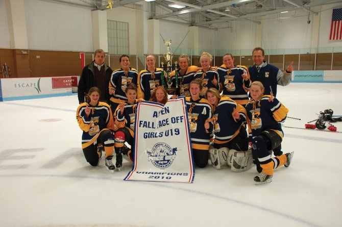 The Steamboat Springs U19 girls hockey team won the 17th annual Aspen Fall Faceoff hockey tournament during the weekend. Pictured in the front row are, from left, Hannah Bashan, Megan Stabile, Hannah Samlowski, Meghan Lukens, Aleigh Aurin and Teagann Yeager. Back row includes, from left, Kent Foster, Kate Verploeg, Corinne Landy, Sara Stout, Olivia Gorr, Marley Loomis and Fred Powers.