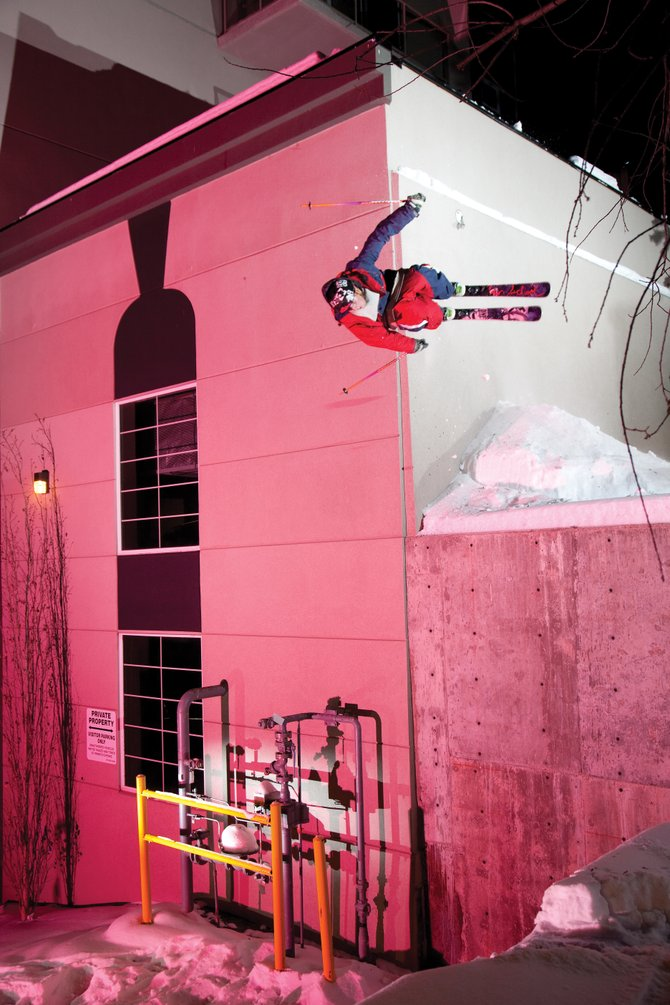 "Freeskier L.J. Strenio, of Salt Lake City, jibs on a building in Edmonton, Alberta while filming Poor Boyz Productions' 2010 ski film, ""Revolver."" The movie will screen at 8:30 p.m. today at Ghost Ranch Saloon. Tickets are $10."