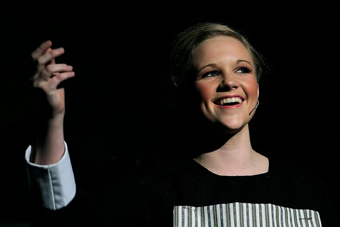 "Kat Thompson, portraying Maria Rainer, sings Thursday during the first scene of the Moffat County High School Theatre Department's performance of ""The Sound of Music."" MCHS is hosting three more showings of the musical, including a performance at 7 p.m. tonight."