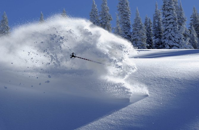 Steamboat Springs' Dan Gilchrist pulls a disappearing act in deep powder on Mount Werner.