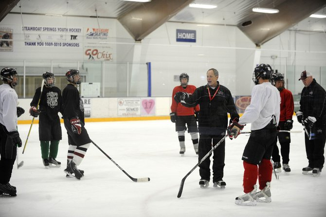 The Steamboat Springs High School hockey team practices Thursday at Howelsen Ice Arena. Steamboat will scrimmage with three teams Saturday at Howelsen.