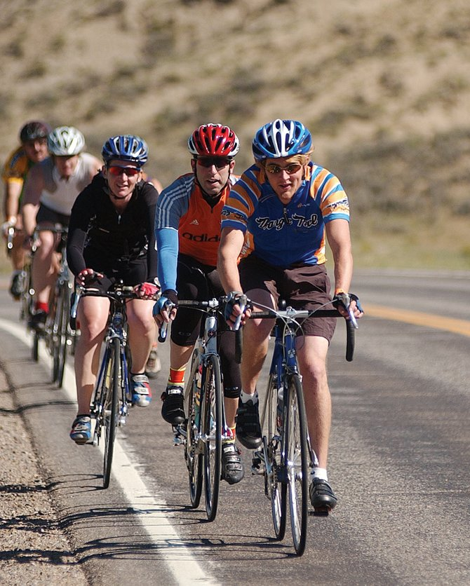 Riders head toward Kremmling from Rabbit Ears Pass on U.S. Highway 40 in the 2007 Tour de Steamboat. Cyclists are speculating about the specific route next summer's Quiznos Pro Challenge stage race will take.