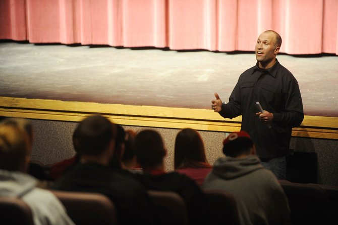 Ryan Wood, Under Armour founding member and owner of Sweetwood Cattle Co. in north Routt County, speaks to students Sunday at Steamboat Springs High School.
