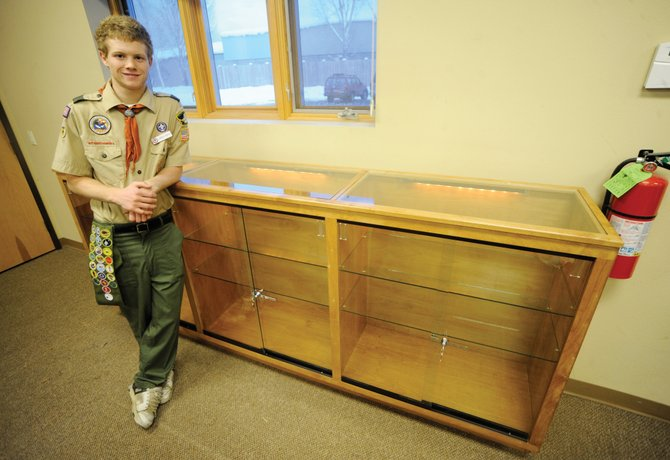 Landen Mertz spent 160 hours building a new display case for the LIFT-UP of Routt County thrift store. Mertz worked on it as part of his Eagle Scout project.