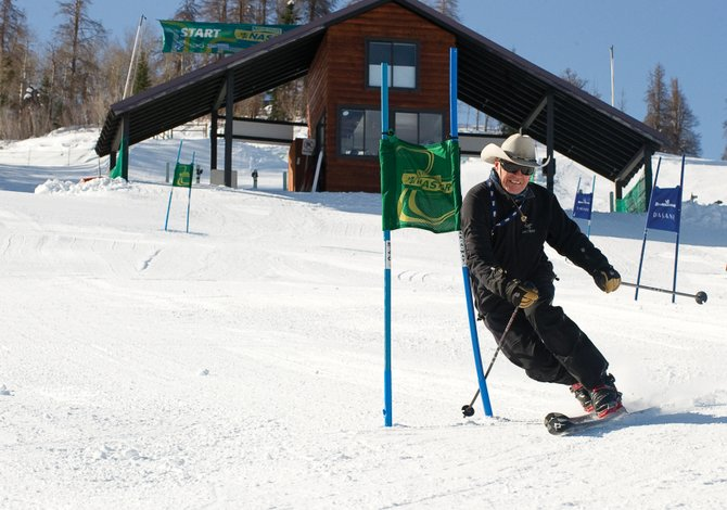 Ray Heid races through the gates of the NASTAR giant slalom course in Bashor Bowl, which is named after local skiing legend Carl Bashor.
