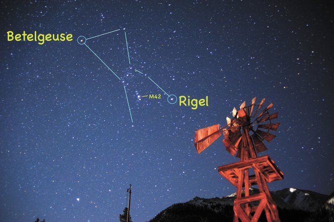 "Orion was captured ""throwing his leg up over our fence of mountains"" in this image taken near Twin Lakes on Friday. Bright stars Betelgeuse and Rigel are easy naked-eye targets, but turn your telescope or binoculars to the middle star in Orion's sword for the best view of Orion's nebula, M42."