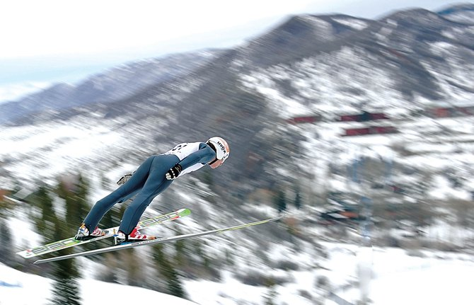 American Nordic Combined skier Eric Camerota soars off the jump at Howelsen Hill during official training Friday morning or the Nordic Excavating Continental Cup competition at Howelsen Hill. The athletes will be back out on the hill today for the first official competition, which begins with a trial jump at 9:30 a.m.