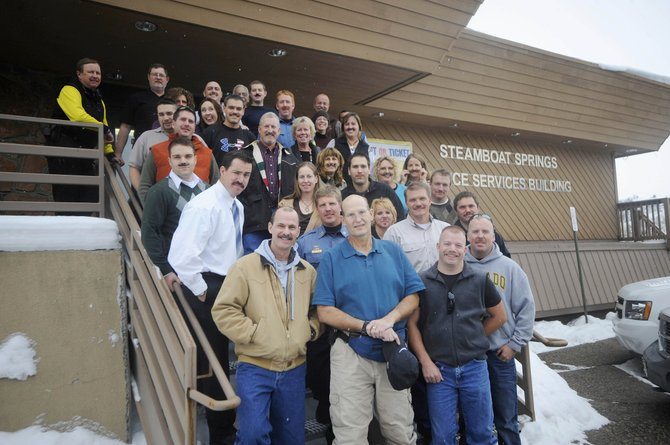 Former Steamboat Springs Police Department Sgt. Dale Coyner (front row, center) visited his colleagues Wednesday to judge a mustache competition put on for his benefit. Coyner died Saturday morning after battling esophageal cancer.