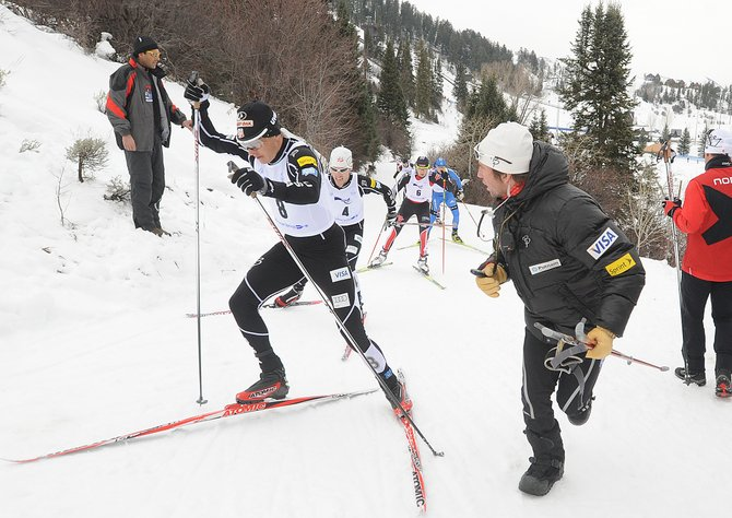 Steamboat's Todd Lodwick leads the lead chase group on the first lap of the 10-kilometer cross-country skiing race that capped the Continental Cup Nordic combined event on Sunday at the Romick Rodeo Arena in downtown Steamboat Springs. Lodwick already had made up 26 seconds in the first kilometer of the race. He went on to track down the leader and easily win his second Continental Cup Nordic combined title in Steamboat Springs in as many days.
