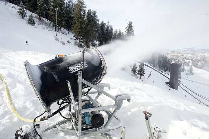 A snowmaking gun blows snow on the face of Howelsen Hill on Wednesday afternoon. Great Outdoors Colorado announced that Howelsen Hill would receive $900,000 in two grants for improvements to the ski area, including the addition of a plastic-covered K38 jump and lighting. The Howelsen Hill Centennial Campaign also hopes to upgrade the ski area's snowmaking capabilities and complete several other improvement projects.