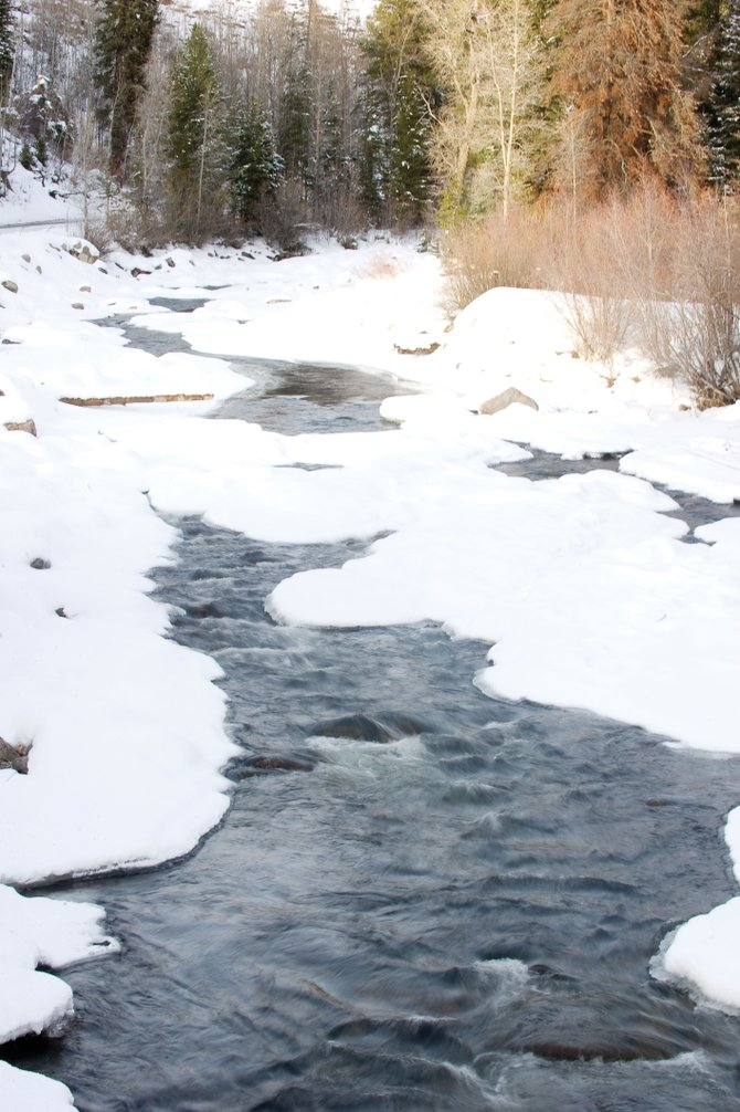 Water flows through the Elk River north of Clark on Wednesday afternoon.