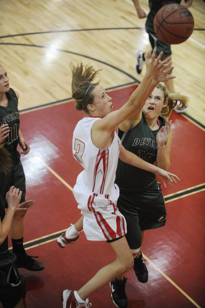 Steamboat Springs High School junior Sydney Bauknecht goes up for a layup during Saturday&#39;s game against D&#39;Evelyn.
